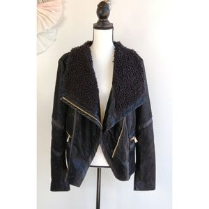 New Guess Faux Leather Suede Black Moto Jacket